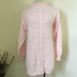Vintage 90s Pale Pink Cable Knit Tunic Sweater